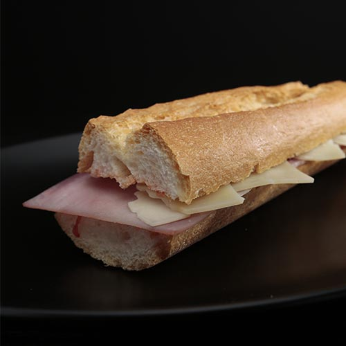 Ham and cheese baguette