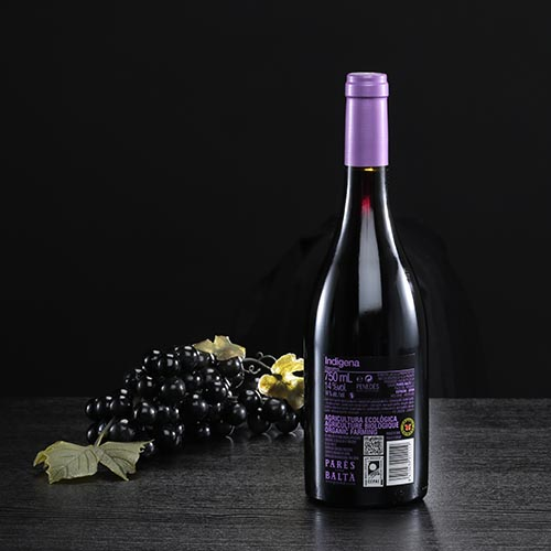 "Botella de vino tinto ""Indigena"", D.O. Penedés"