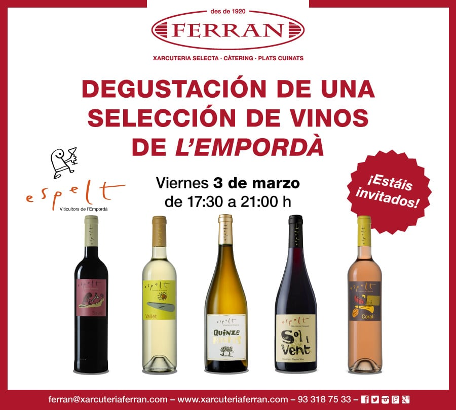 Degustación especial de vinos de Celler Espelt